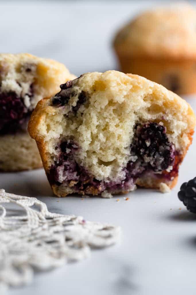 one Blackberry Muffin sliced in half