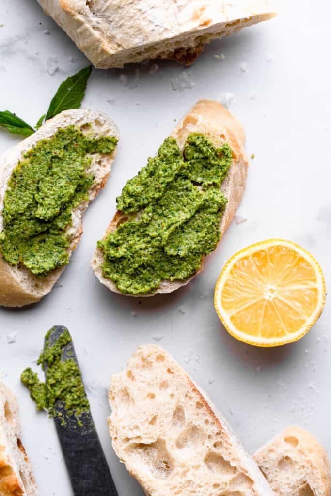 Broccoli Pesto spread on 2 pieces of bread
