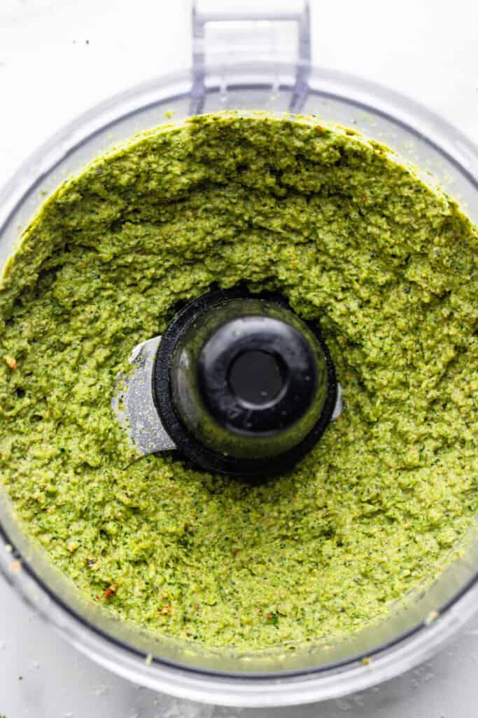 food process full of Broccoli Pesto