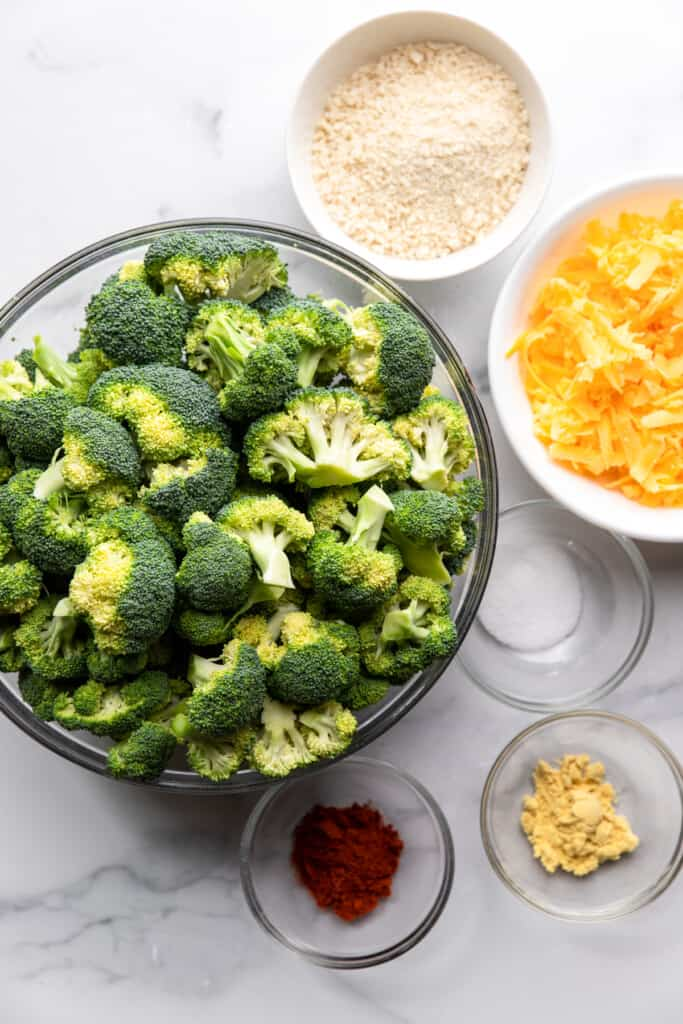 ingredients for Healthy Broccoli Casserole in small mixing bowls