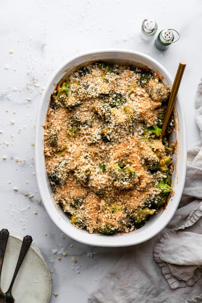 a large baking dish full of Healthy Broccoli Casserole