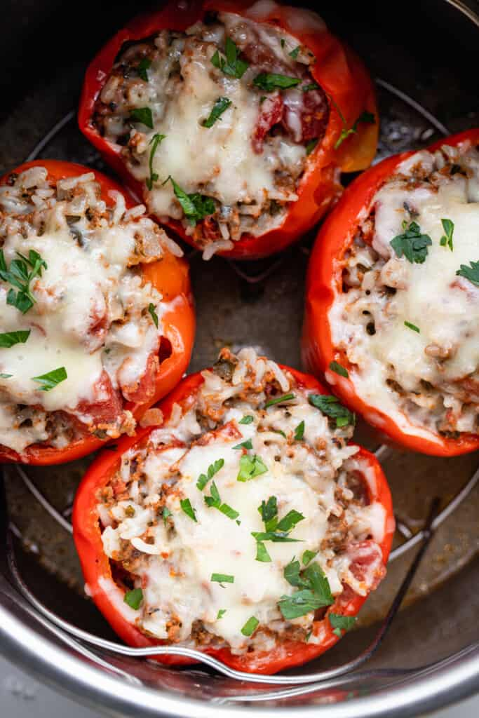 Instant Pot Stuffed Peppers cooked in the instant pot