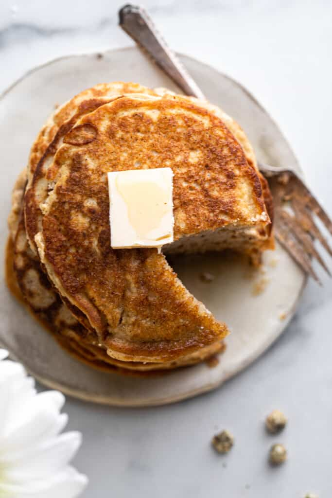 top view of Keto Coconut Flour Pancakes with butter on top