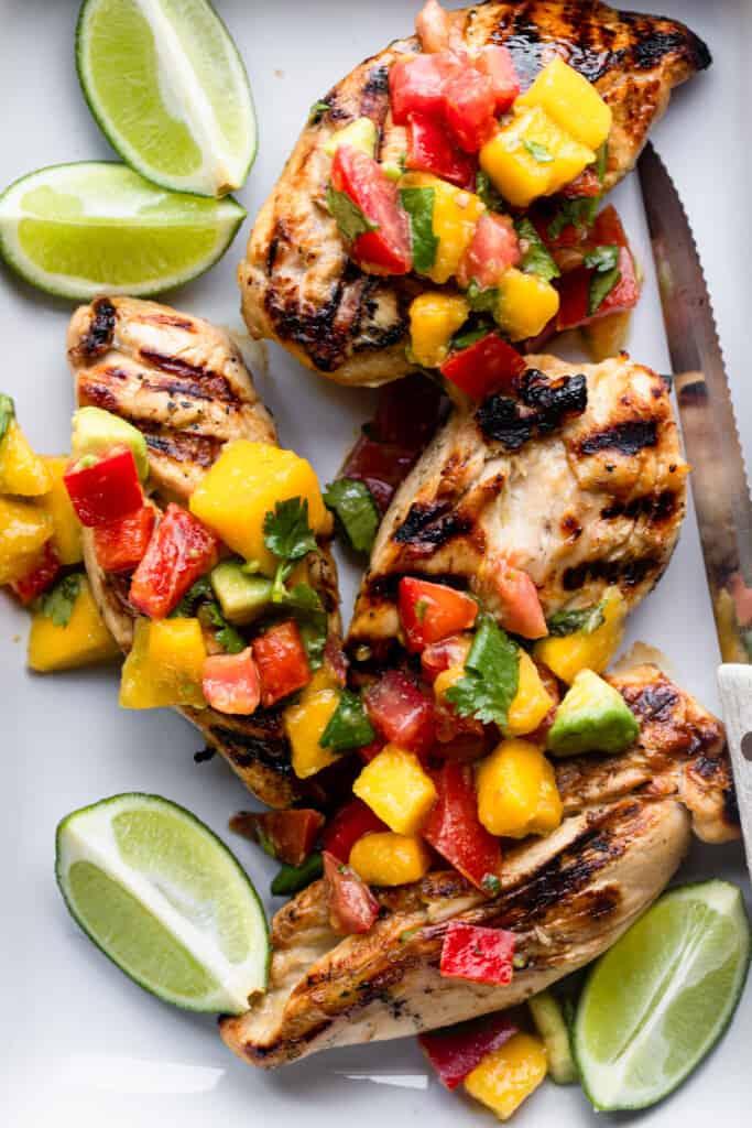 chicken breasts covers in salsa for Mango Salsa Chicken