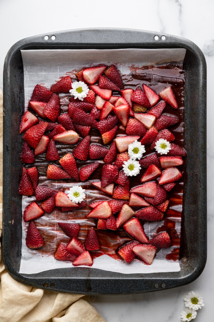 sliced strawberries in a baking dish for Roasted Strawberries