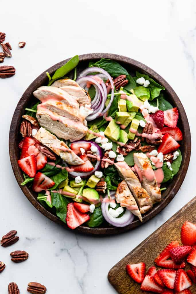 a large bowl full ofStrawberry Chicken Salad