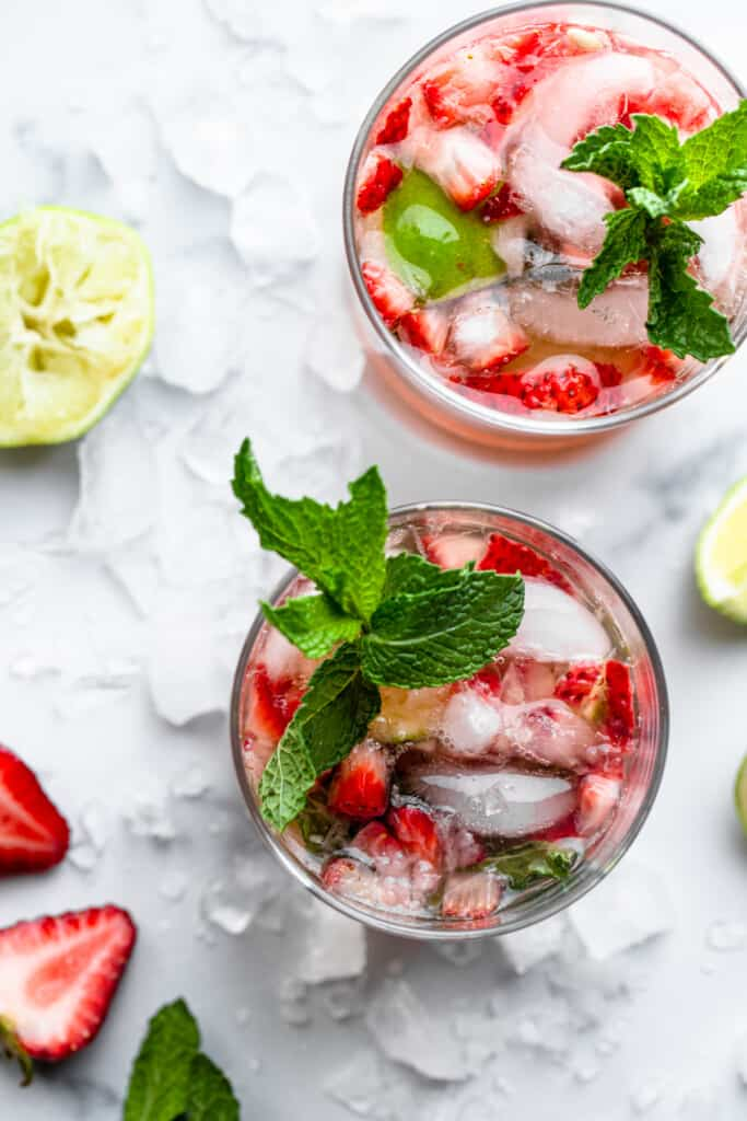 top view of Strawberry Mojitos in glasses