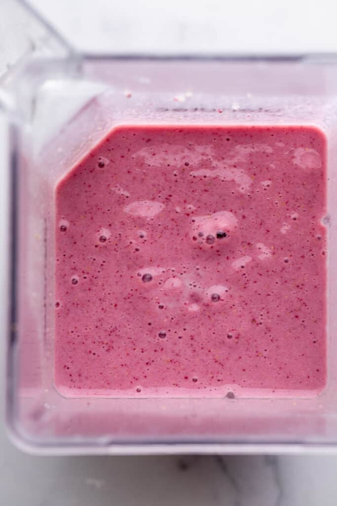 Strawberry Protein Shake mixed up in a blender