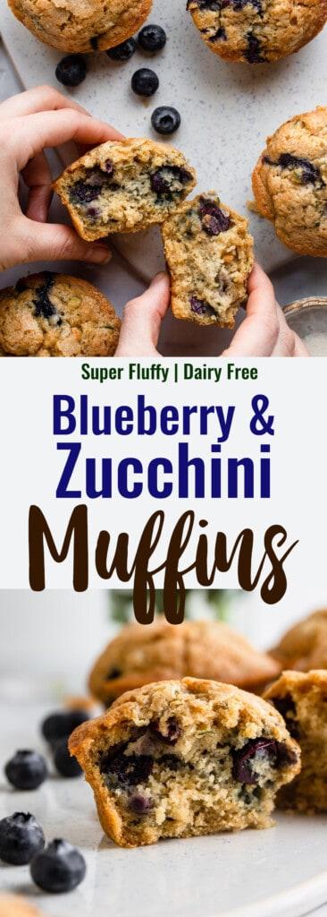 Zucchini Blueberry Muffins collage photo