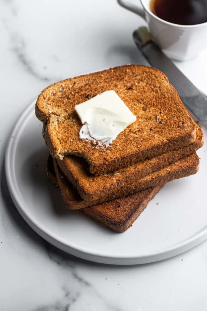 a stack of Air Fryer Toast on a plate