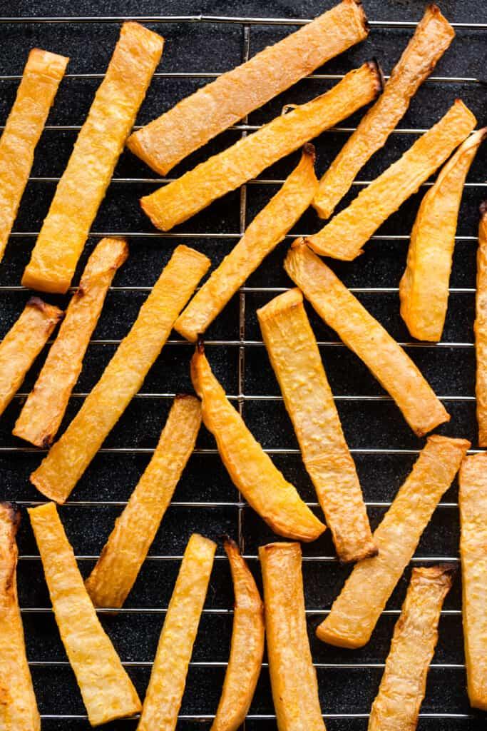 Keto French Fries on cooling rack baking sheet