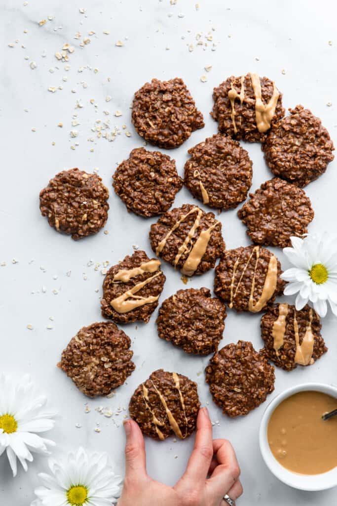 a dozen Vegan No Bake Cookies on a table