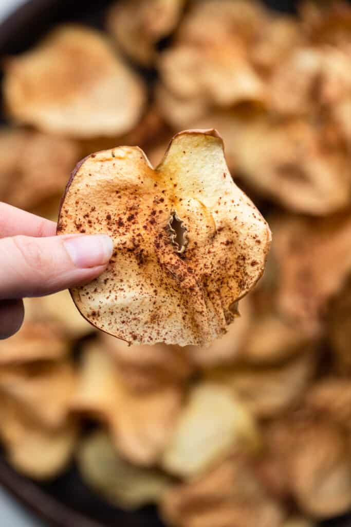 a close up of one Air Fryer Apple Chips with cinnamon