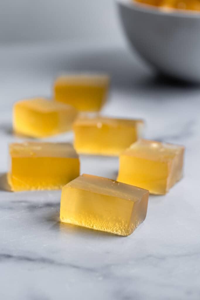 slices of Apple Cider Vinegar Gummies on a table