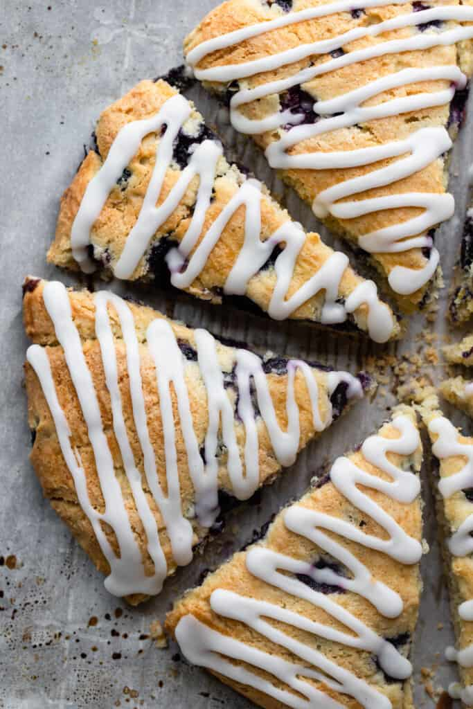 a round of Gluten Free Scones with Blueberries with glaze