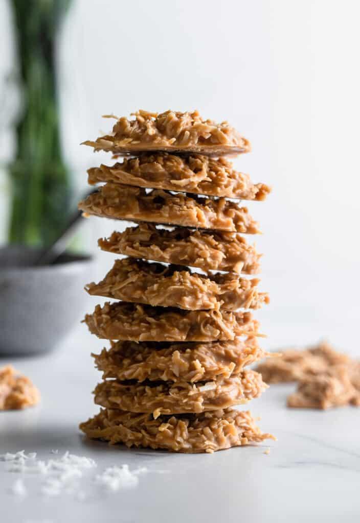 a stack of Keto No Bake Cookies