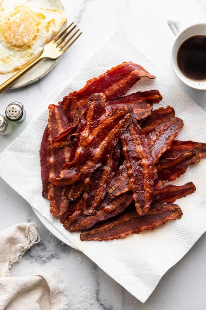 a pile of Air Fryer Turkey Bacon on a plate