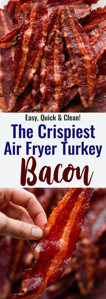 Air Fryer Turkey Bacon collage photo