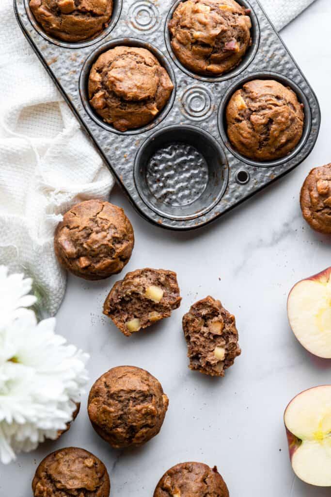 Apple Banana Muffins in a muffin pan