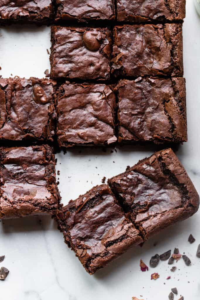 slices of Eggless Brownies on a table