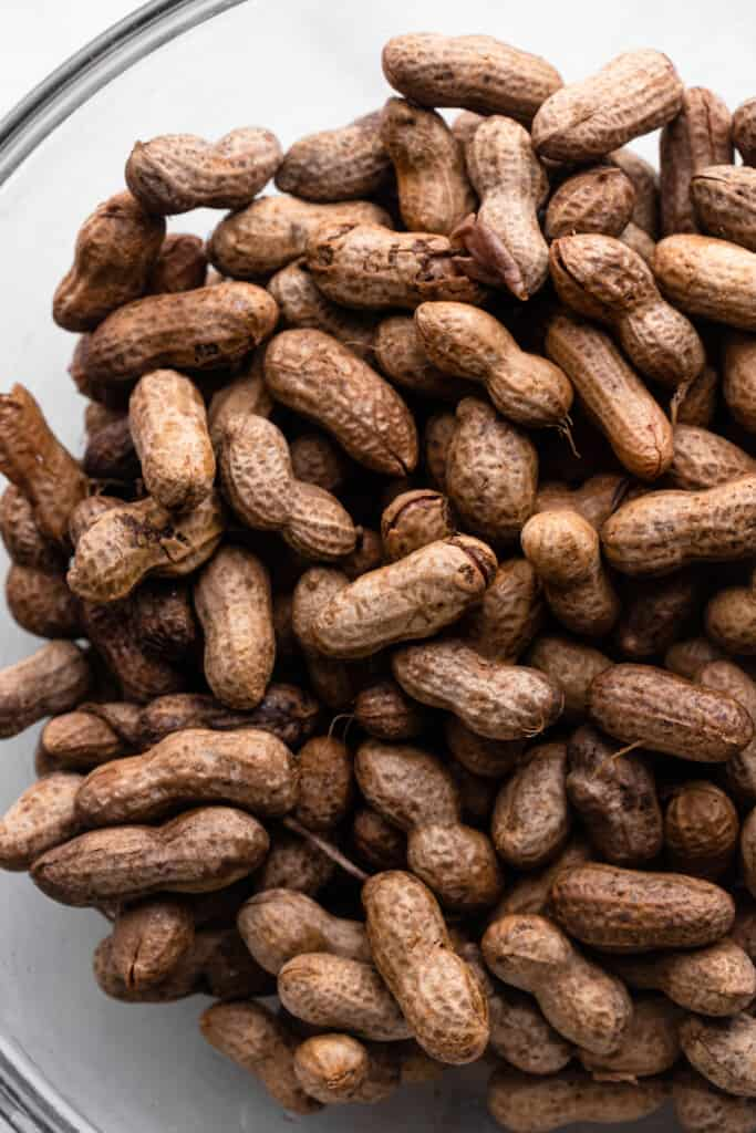 a large bowl full of Instant Pot Boiled Peanuts