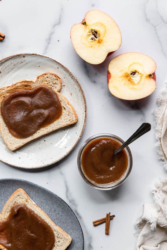 Slow Cooker Apple Butter on a slice of toast