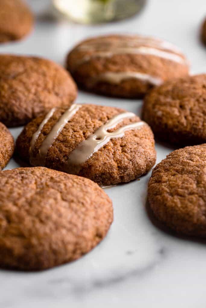 Vegan Pumpkin Cookies drizzled with cashew butter