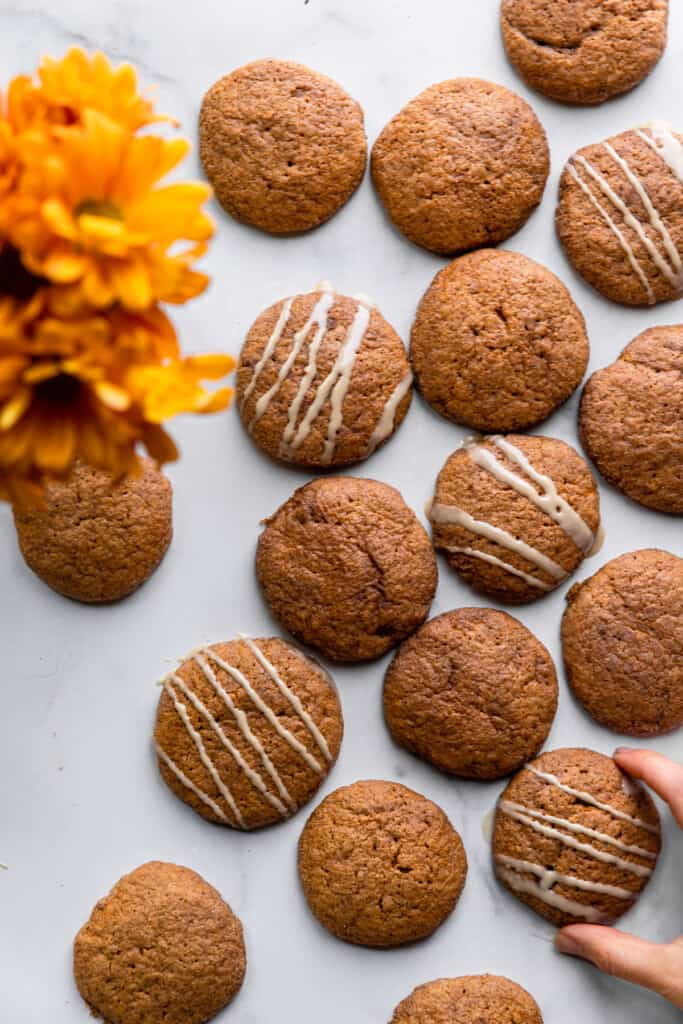 a batch of Vegan Pumpkin Cookies on a table