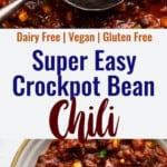 Crock Pot Bean Chili collage photo