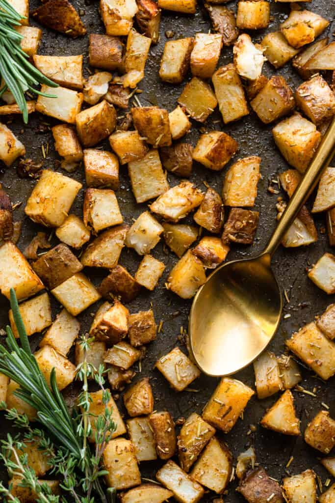 baking sheet covered in Roasted Russet Potatoes