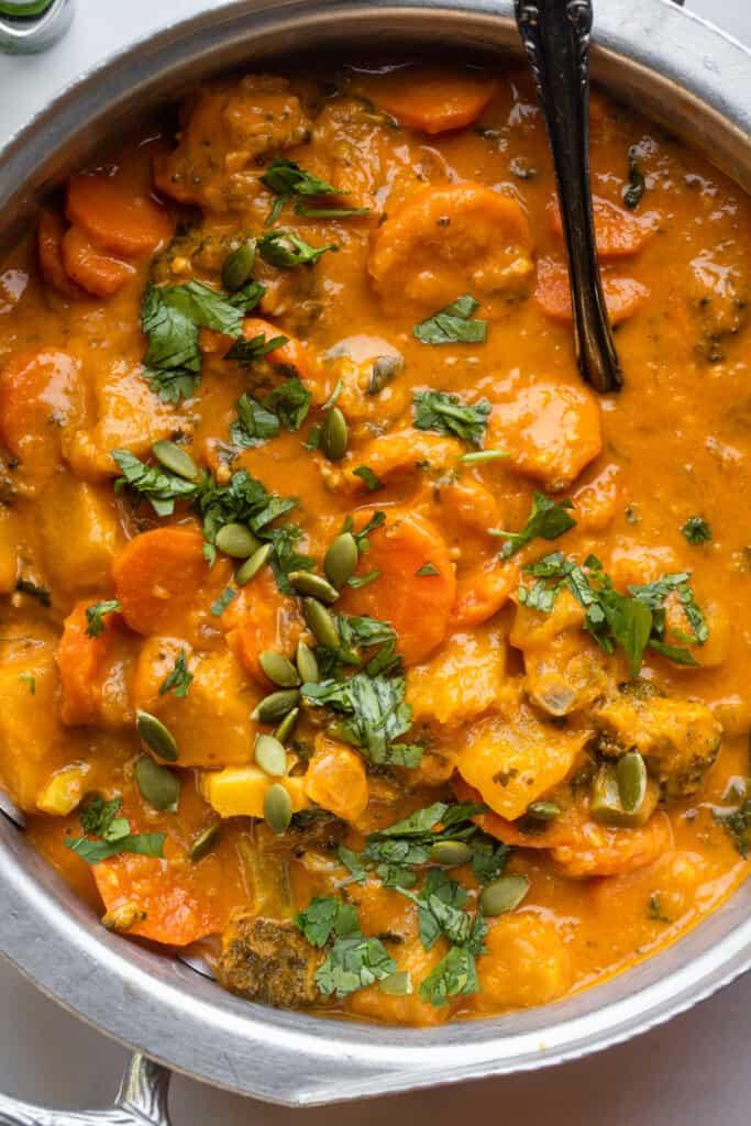 close up view of Thai Pumpkin Curry