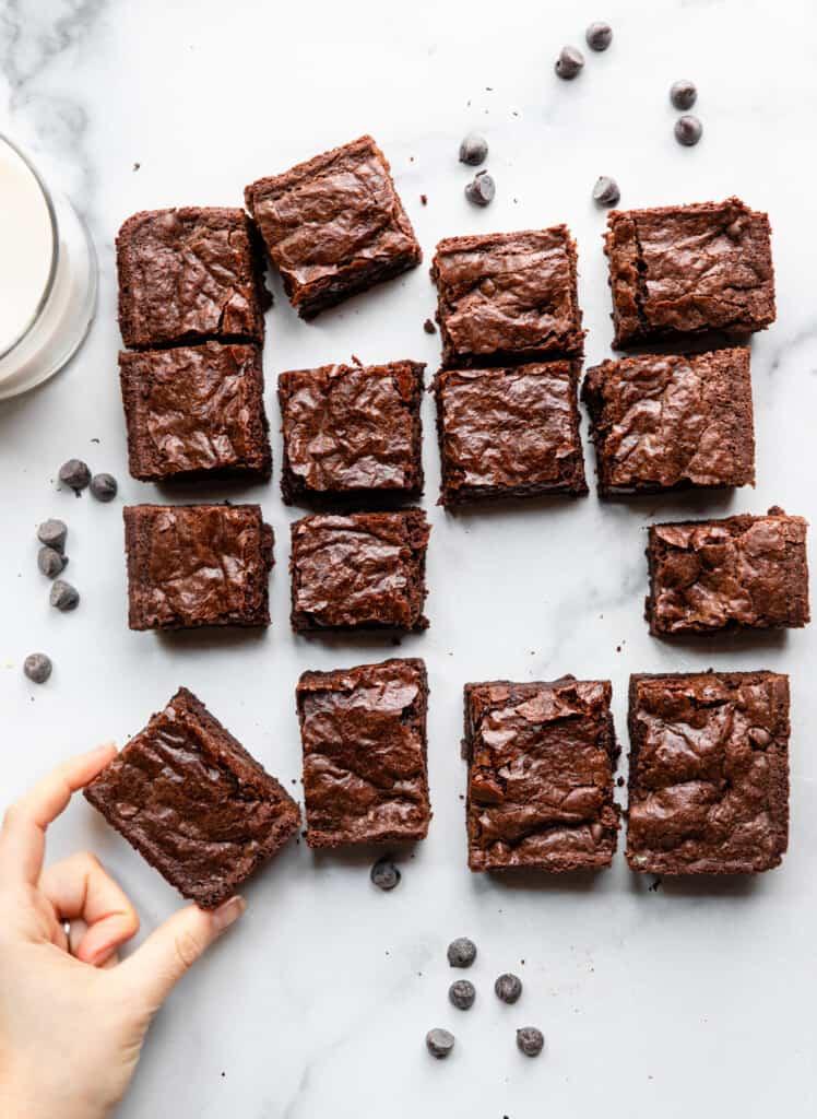 a bunch of Vegan Gluten Free Brownies arranged in rows