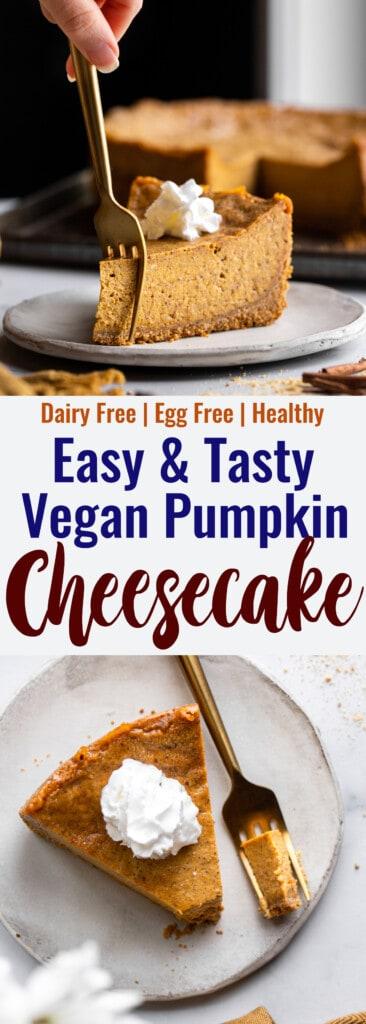 Vegan Pumpkin Cheesecake collage photo
